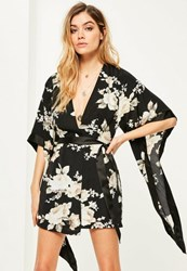 Missguided Black Floral Kimono Shift Dress