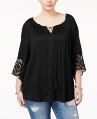 Eyeshadow Trendy Plus Size Lace Trim Peasant Top Black
