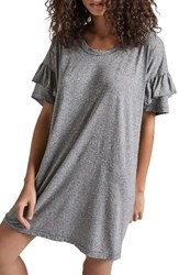 Current Elliott Women's Ruffle Roadie T Shirt Dress Heather Grey