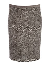 Betty Barclay Knit Skirt With Graphic Design Grey