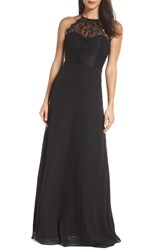 Hayley Paige Occasions Lace Halter Overlay Chiffon Gown