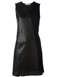 Paco Rabanne Asymmetric Leather Panel Dress Black