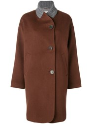Peserico Off Centre Button Coat Brown