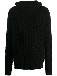 Greg Lauren Cable Knit Hooded Jumper 60