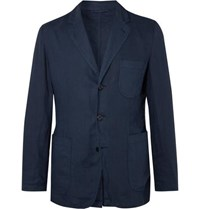 Aspesi Navy Slim Fit Unstructured Garment Dyed Linen Blazer Blue