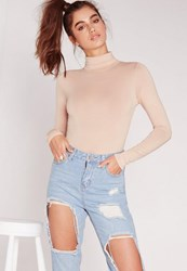 Missguided Tall Nude Turtleneck Long Sleeve Bodysuit