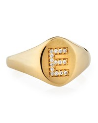Zoe Chicco Personalized 14K Gold Pave Initial Signet Ring