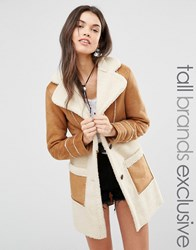 Glamorous Tall Oversized Borg Panel Coat With Zip Detail Tan Brown