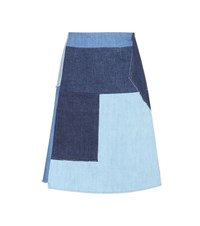 Mih Jeans Turo Patchwork Denim Skirt Blue