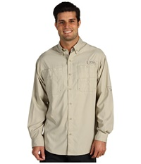 Columbia Tamiami Ii L S Fossil Men's Long Sleeve Button Up Beige