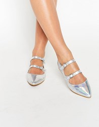Daisy Street Silver Multi Strap Point Flat Shoes Silver Holographic