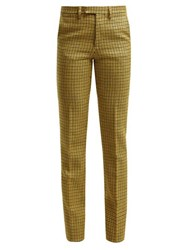 Raf Simons Houndstooth Wool Trousers Yellow