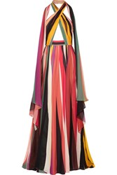 Elie Saab Striped Silk Blend Georgette Halterneck Gown Yellow