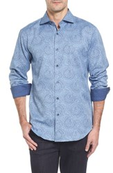 Bugatchi Men's Shaped Fit Print Sport Shirt Classic Blue