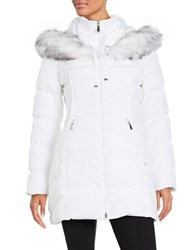Laundry By Shelli Segal Faux Fur Trimmed Down Puffer Coat Real White