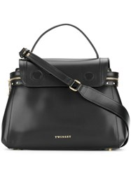 Twin Set Top Flap Tote Bag Women Calf Leather Metal Other One Size Black