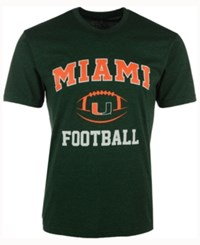 Colosseum Men's Miami Hurricanes Football Arch Logo T Shirt Green