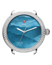 Michele Serein 18Mm Watch Head With Diamonds In Silver Teal