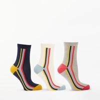 Boden Stripe Print Ankle Socks Pack Of 3 Rainbow