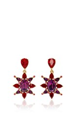 Oscar De La Renta Hot Pink Tropical Bloom Star C Earring