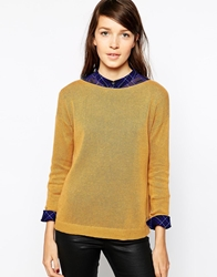 Esprit Long Sleeve Boat Neck Top Mustard