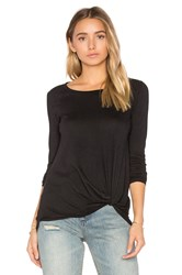 Bobi Light Weight Jersey Twist Front Long Sleeve Tee Black