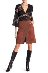 Elizabeth And James Riva Embellished Genuine Suede Skirt Brown