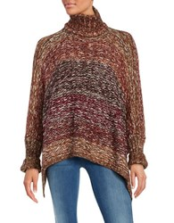 Design Lab Lord And Taylor Knit Turtleneck Poncho Copper Multi