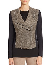 Elie Tahari Gabby Wool And Tweed Asymmetrical Jacket Horizon