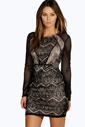 Boohoo Lace Panelled Long Sleeve Bodycon Dress Black