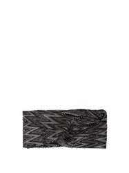 Missoni Front Twist Metallic Crochet Knit Headband Black