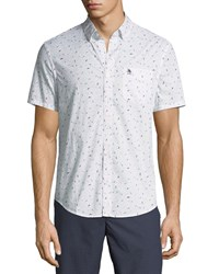 Penguin Slim Fit Seagull Print Short Sleeve Sport Shirt White