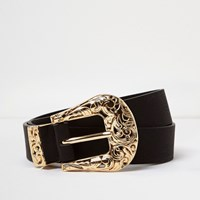 River Island Womens Black Filigree Western Belt