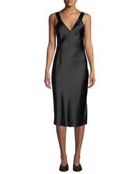 Cami Nyc Miki Silk Charmeuse V Neck Slip Dress Black
