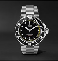 Oris Aquis Depth Gauge Stainless Steel Watch Ref. No. 73376754154 Set Black