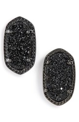Women's Kendra Scott 'Ellie' Oval Stone Stud Earrings Black Drusy Gunmetal