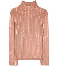 Nina Ricci Embellished Wool Blend Sweater Pink