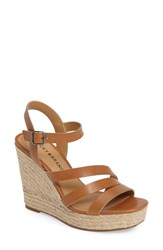 Lucky Brand Women's Latif Espadrille Wedge Sand Shell Leather