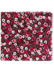 Saint Laurent 'Fleurs' Large Scarf Black