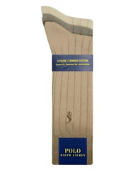 Polo Ralph Lauren Big And Tall Solid Ribbed Dress Socks 3 Pack Khaki