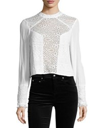 Band Of Gypsies Lace Front Long Sleeve Blouse White