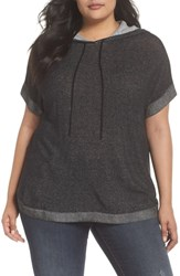 Vince Camuto Plus Size Ribbed Trim Short Sleeve Hoodie Rich Black