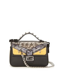 Fendi Double Micro Baguette Leather Cross Body Bag Black Multi