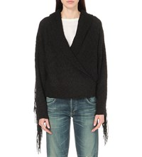 Wildfox Couture Marishka Fringe Detail Knitted Cardigan Black