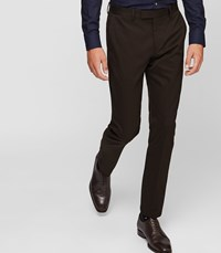 Reiss Ousby Slim Fit Twill Trousers In Brown Mens
