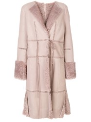 Alexander Mcqueen Stitch Detailed Coat Sheep Skin Shearling Lamb Fur Pink Purple