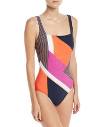 Gottex Martime Square Neck Mixed Print One Piece Swimsuit Multi