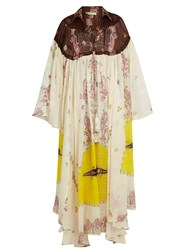 Etro Paisley Print Bell Sleeve Silk Gown White Multi