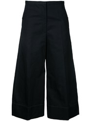 Christophe Lemaire Cropped Flared Trousers Women Cotton Linen Flax 38 Black