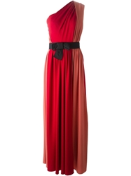 Lanvin One Shoulder Evening Gown Red